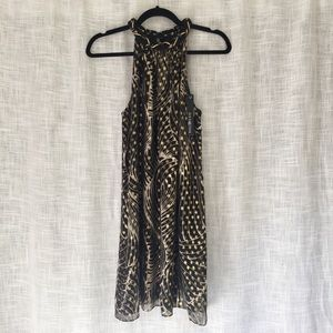NWT Alice Trixie Metallic Print Silk Trapeze Dress
